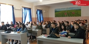 The meeting, between first year students of Agrarian Faculty and the rector of ATSU, professor Giorgi Ghavtadze